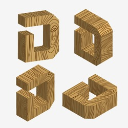 Set of four wooden block,Three-dimensional wooden alphabet. Vector illustration of 3d, Letters D