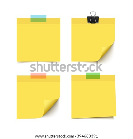 set of four yellow sticky notes