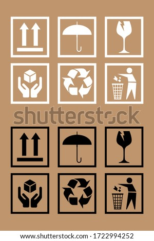 Set of fragile package icons, handle with delivery labels and care logistics. Fragile box, cargo warning vector signs. Vector illustration.