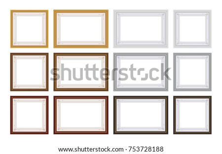 Set of Frame Vector with blank space for your picture or text,  Gold and Wood frame Collection on white background.