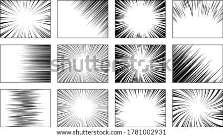 Set of frames for black manga book. Action, speed radial, horizontal, spiral lines. Cartoon comic book backgrounds. Burst, action manga patterns. Radial stripes, lines. Vector illustration