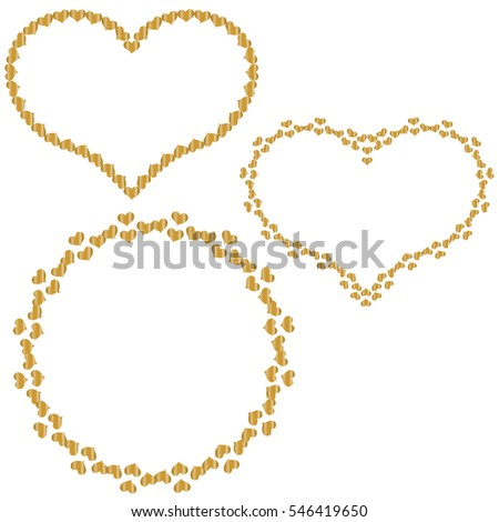 set of frames in the shape of heart of small gold hearts isolated on ...