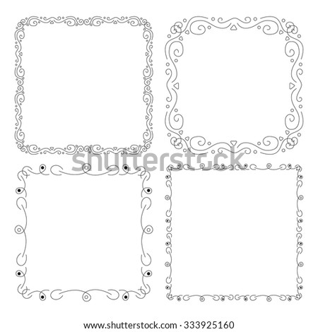 Set of frames isolated on white background. Vintage collection framework.