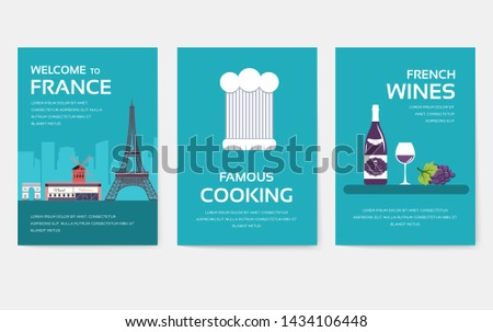 Set of France country ornament travel tour concept. Monument traditional, magazine, book, poster, abstract, element. Vector decorative ethnic greeting card or invitation design