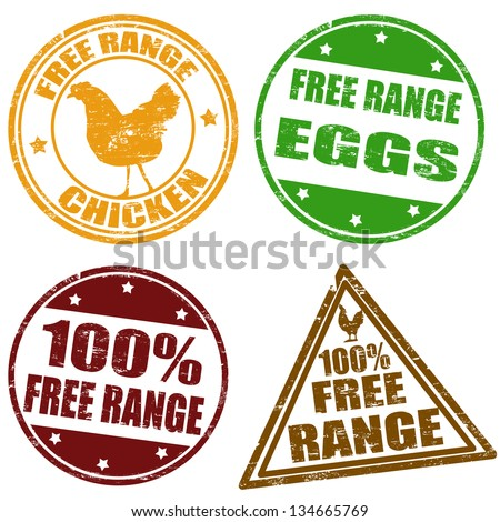 Set of free range chicken and eggs rubber stamps, vector illustration