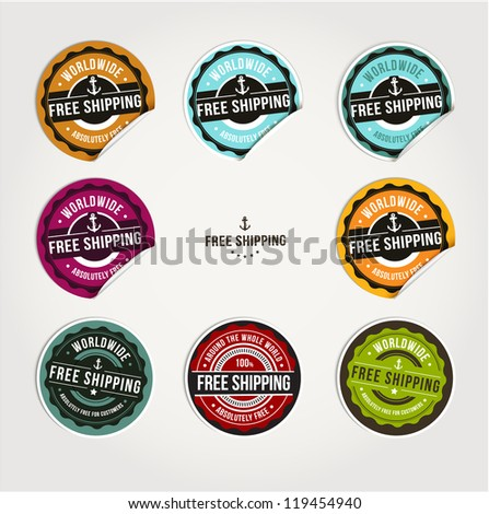 Set of free shipping badges