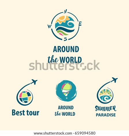 Set of freehand drawn illustration color logo template for summer travel business tour agency. Best tour around the world to summer paradise.