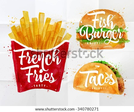 set of french fries  fish