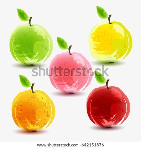 Stock Photo Set of fresh apples on white background. Vector illustration.