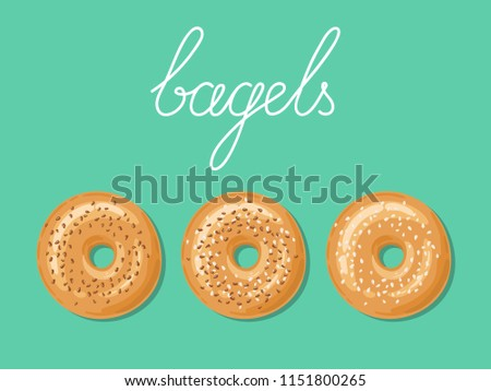 Set of 3 fresh bagels with white and brown sesame seeds on top. Top view of bagels isolated over background. Delicious breakfast. Take away fast food. Vector illustration.