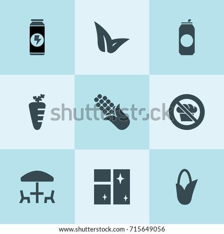 set of 9 fresh filled icons