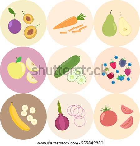 set of fresh healthy vegetables