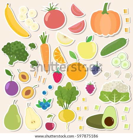 Set of fresh healthy vegetables, berries and fruits stickers. Slices of fruits and vegetables. Flat design. Organic farm illustration. Healthy lifestyle vector design elements.