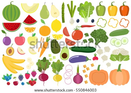 Set of fresh healthy vegetables, fruits and berries isolated. Slices of fruits and vegetables. Flat design. Organic farm illustration. Healthy lifestyle vector design elements.  #550846003