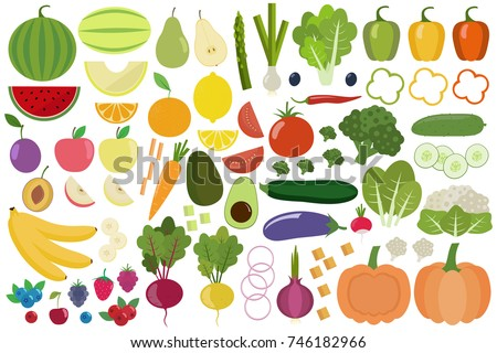 Set of fresh healthy vegetables, fruits and berries isolated. Slices of fruits and vegetables. Flat design. Organic farm illustration. Healthy lifestyle vector design elements.  #746182966