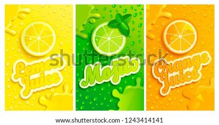 set of fresh lemon mojito
