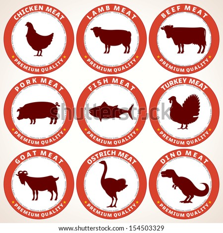 Set of Fresh Meat Labels. Tags with Various Animals Silhouettes and Description. Vector Illustration.