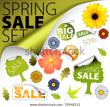 Set of fresh spring discount tickets, labels, stamps, stickers, corners, tags (vector)