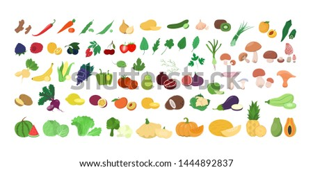 Set of fresh tasty fruits and vegetables. Delicious apple and banana, carrot and pepper. Healthy food. Isolated vector illustration in cartoon style #1444892837