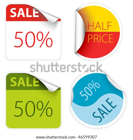 Set of fresh two colors sale labels and stickers