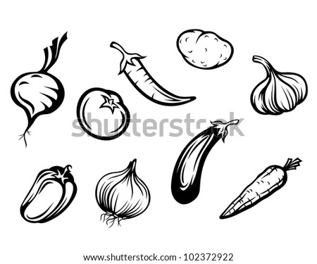 Set of fresh vegetables isolated on white background, such logo. Jpeg version also available in gallery