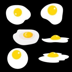 Set of fried eggs. Vector illustration