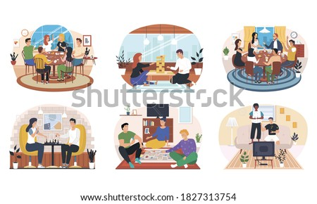 Set of friends home activities. Young multiethnic people having fun at home party and playing card board games on floor. Spending time with friends and family and game together. playing tabletop games