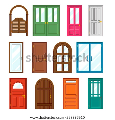 Set of front buildings doors in flat design style for Main door design for flat