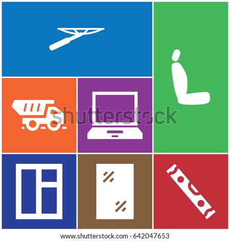 set of 7 front filled icons
