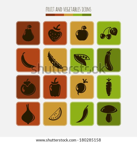 Set of fruit and vegetables icons