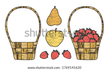 set of fruit and wicker baskets