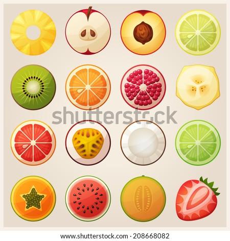 set of fruit halves slices of