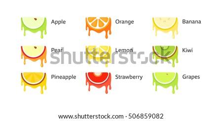 set of fruit icons in original