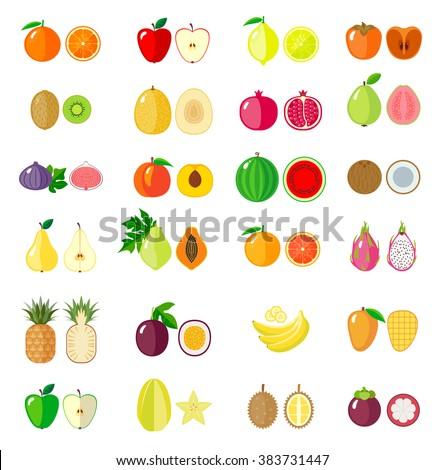 set of fruit icons isolated