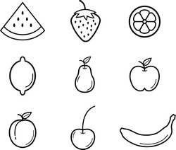 Set of fruit icons. Vector graphics. Set of icons. Fruits. Berries. Food. Apple icon. Watermelon icon. Banana icon. Isolated on white background.