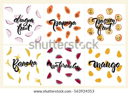 Set of fruit illustrations: dragon fruit, mango, papaya, passion fruit, banana, watermelon. Summer cute pattern, healthy vector vegan food. For the prints, carrying case, bags, wrapping paper, logo.