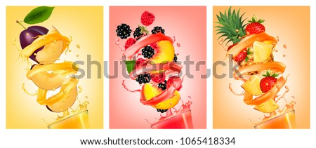Set of fruit in juice splashes. Peach, strawberry, blackberry, pineapple, strawberry and peach. Vector.