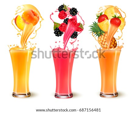 Set of fruit juice splash in a glass. Strawberry peach, rasberry, pineapple and blackberry. Vector