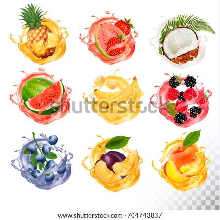 Set of fruit juice splash . Pineapple, strawberry, watermelon, mango, peach, blackberry, raspberry, banana, guava, bueberry, coconut. Vector