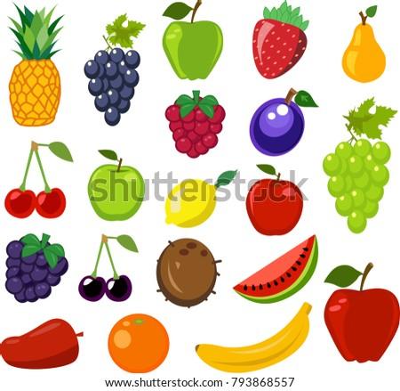 Set of fruit vector illustration #793868557