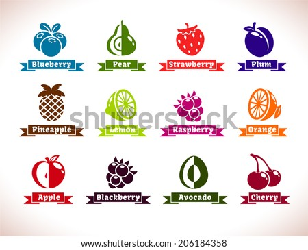 Set of fruits and berries icons, vector collection