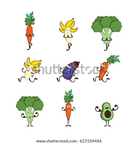 Set of fruits and vegetables doing sport -avocado, carrot, banana, eggplant, broccoli, cartoon vector illustration isolated on white background. Cute and focused fruit and vegetable characters