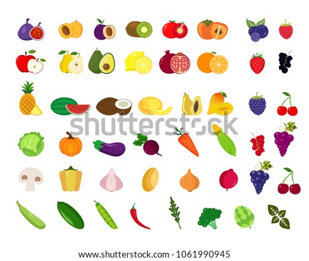 Set of fruits and vegetables.Organic food icons vector illustration #1061990945