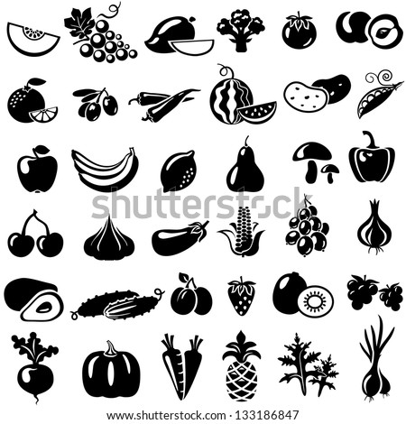 Set of fruits and vegetables. Vector illustration. Tomato, peach, onion, pepper, mushrooms, arugula, beans, melon, grapes, mango, broccoli, orange, olives, watermelon, banana, apple, lemon, pear