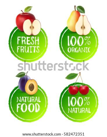 set of fruits badges apple