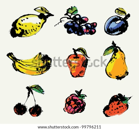 Set of fruits. Hand painted illustration. Vector illustration
