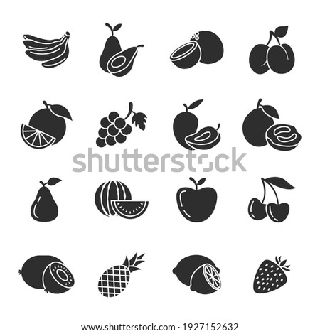 Set of Fruits icon. Fruits pack symbol template for graphic and web design collection logo vector illustration