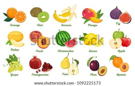 set of fruits isolated on white