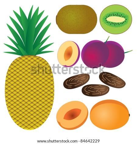 Set of fruits on the white background. Pineapple, peach, plum, date, kiwi.