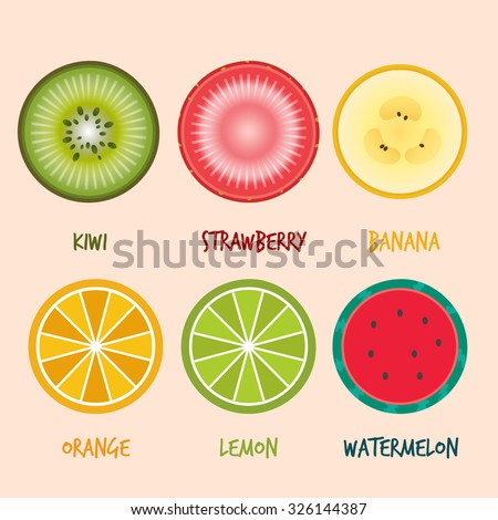 set of fruits slices  vector